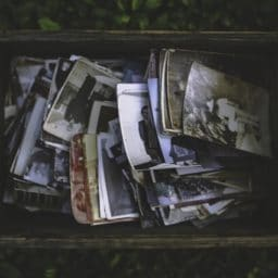 Box of old photos memory