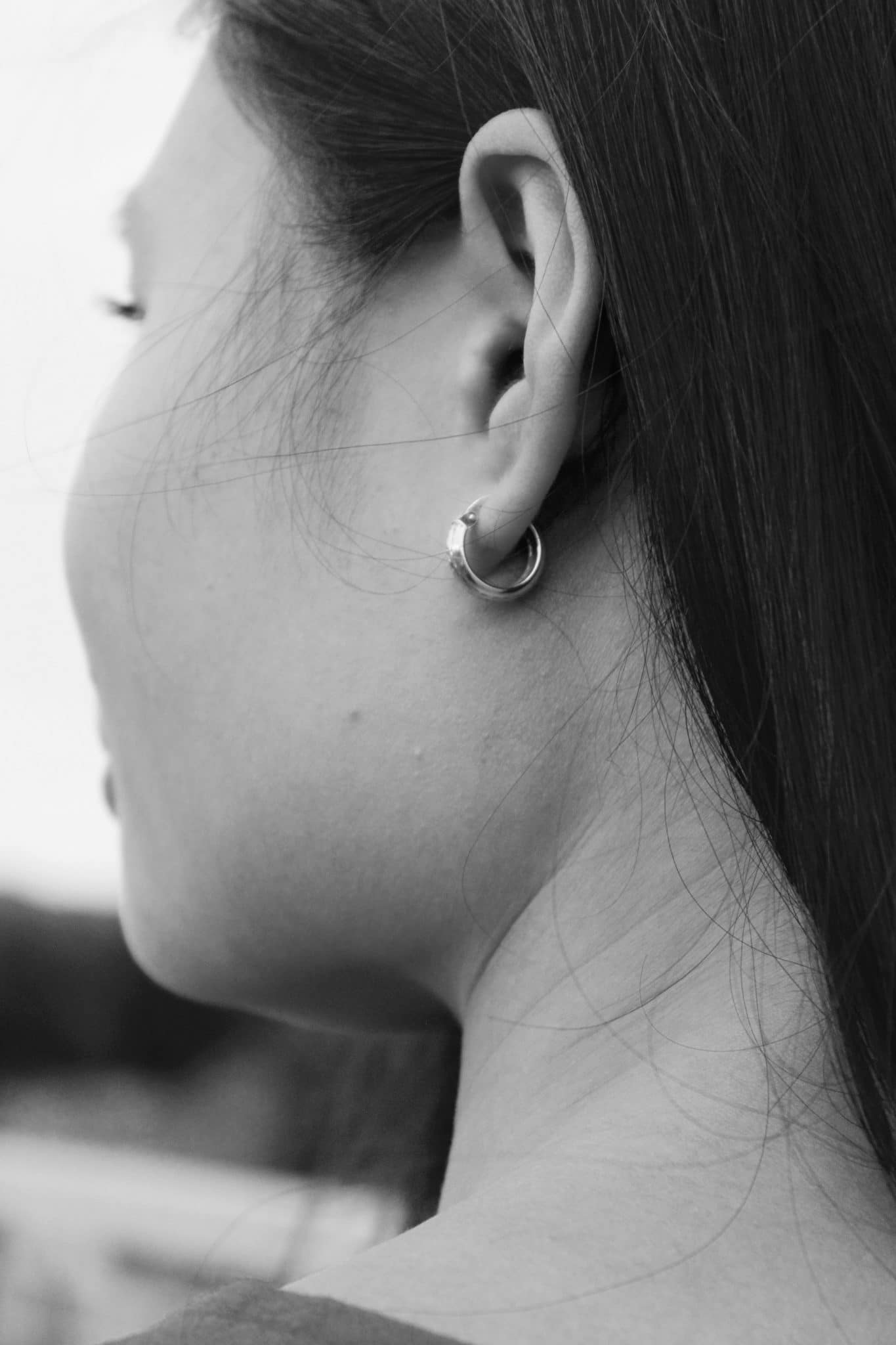 A close-up of a woman's ear